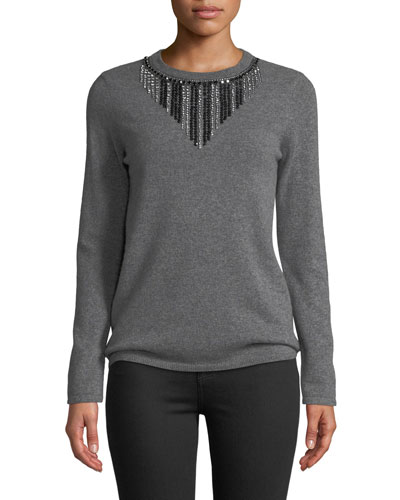 Embellished-Front Cashmere Pullover Sweater
