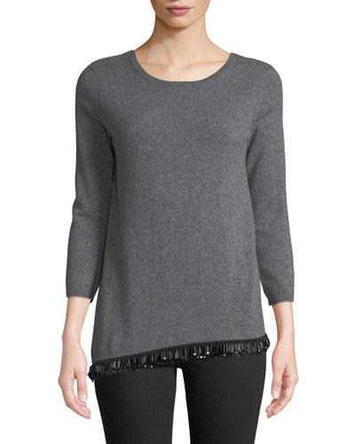 Asymmetrical Embellished-Hem Cashmere Pullover Sweater