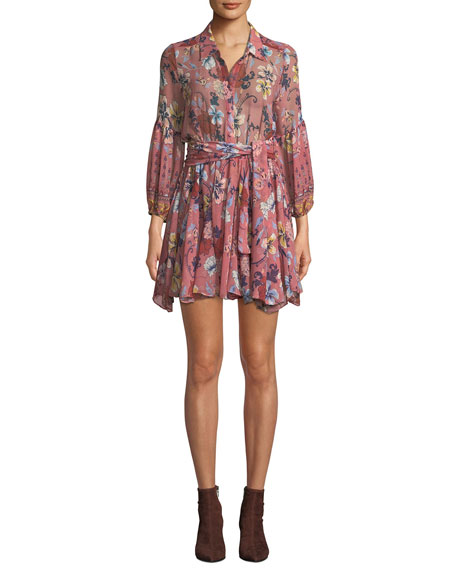 Misa Serina Floral Button-Front Short Dress