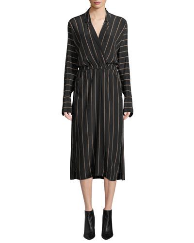 Nico Surplice Long-Sleeve Striped Silk Midi Dress