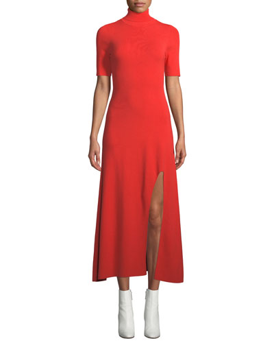 Caplan Turtleneck Short-Sleeve Slit-Front Long Dress