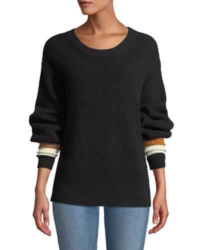 Jasper Colorblock-Cuffs Ribbed Cashmere-Blend Sweater