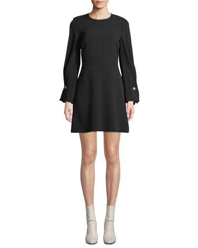 Bennet Long-Sleeve Mini Dress with Button Details