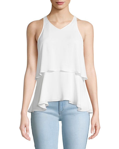 A.L.C. Duran Tiered Silk V-Neck Top