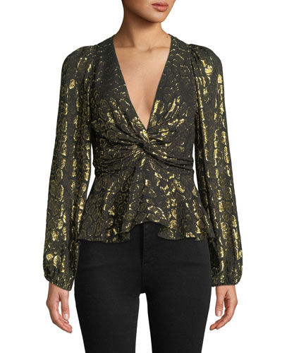 Logan Metallic Twist-Front Animal-Print Top