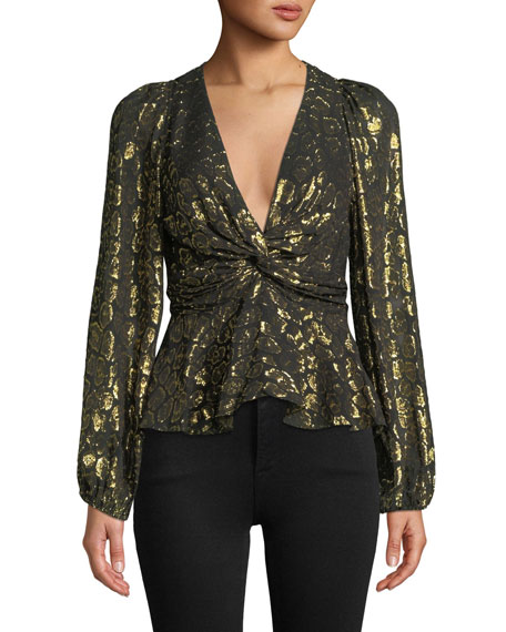 A.L.C. Logan Metallic Twist-Front Animal-Print Top