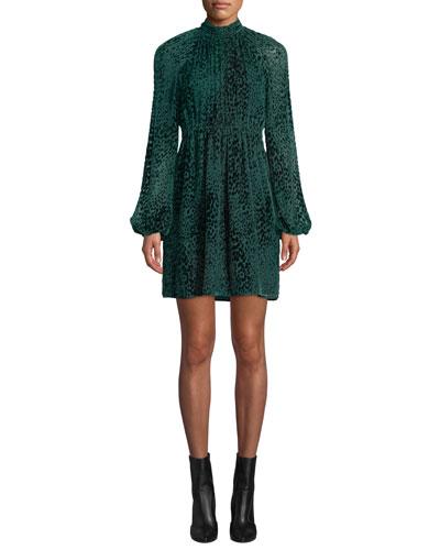 Nadia Animal-Print Velvet Burnout Dress