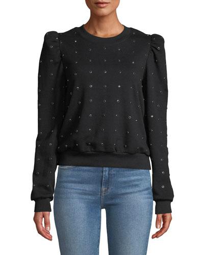 Azalia Embellished Puff-Sleeve Sweatshirt