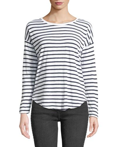Striped Long-Sleeve Crewneck Slub Tee