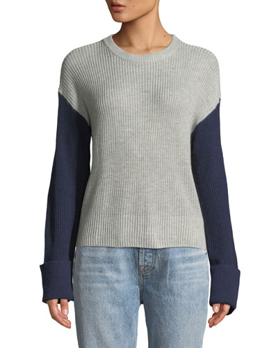 Colorblocked Crewneck Pullover Sweater