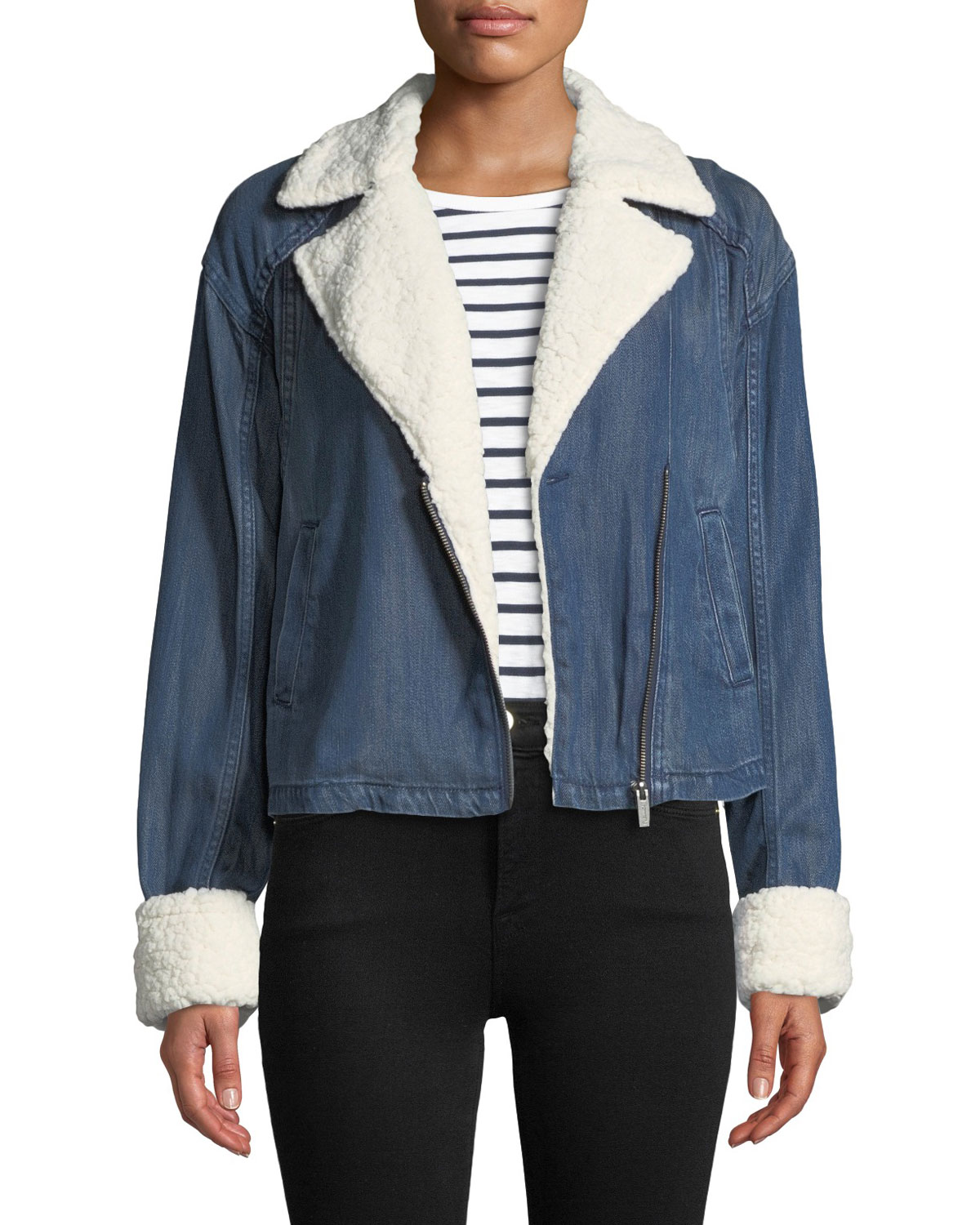 9cf9a2944e Splendid Sherpa-Lined Cropped Denim Moto Jacket