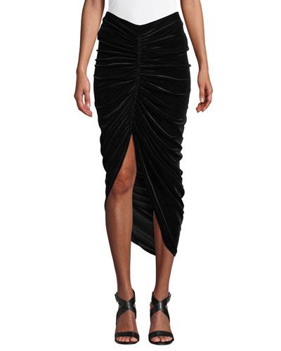 Any Seven Velvet Ruched Tulip Skirt