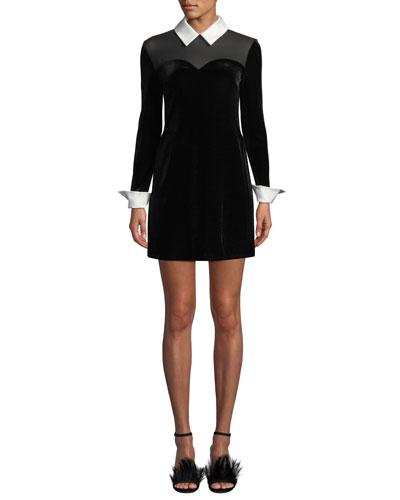 Dealer Collared Velvet Mini Dress