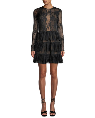 Riviera Lace Long-Sleeve Cocktail Dress