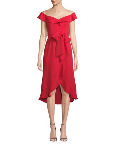 Silky Crepe Bow & Ruffle Dress