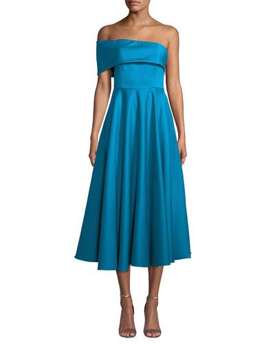 Satin One-Sleeve Midi Dress