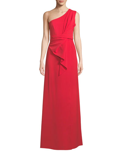 One-Shoulder Gathered Silky Crepe Gown