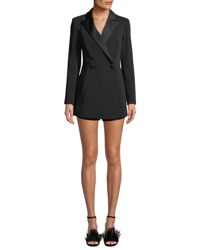 Tailored Double-Breasted Blazer Romper