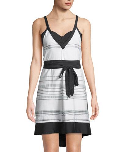 Striped V-Neck Coverup Sun Dress