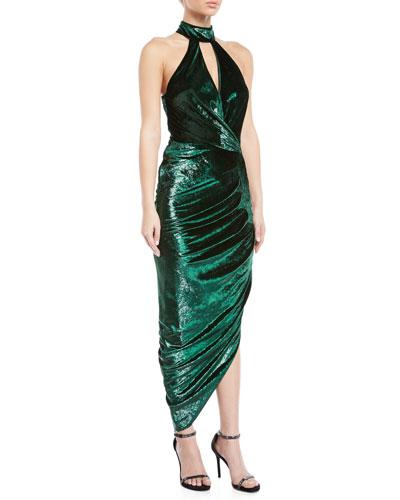 Jana Metallic Velvet Asymmetric Wrap Dress