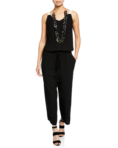 V-Neck Sleeveless Drawstring-Waist Silk Jumpsuit