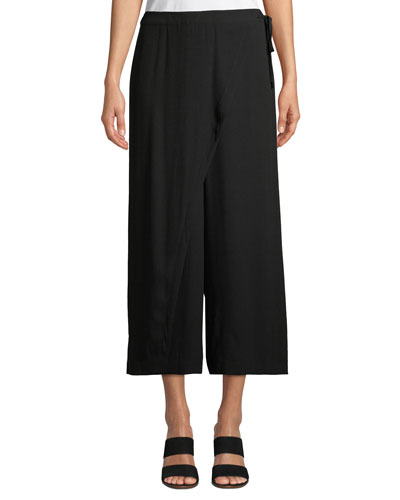 Wrap-Front Wide-Leg Cropped Silk Pants