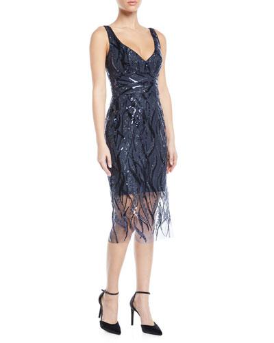 Margaret V-Neck Sleeveless Sequin Dress