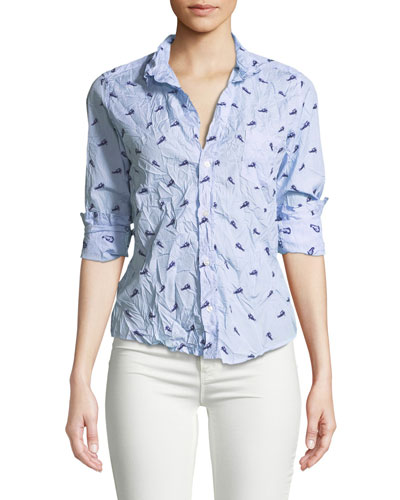 Printed Long-Sleeve Button-Down Cotton Top