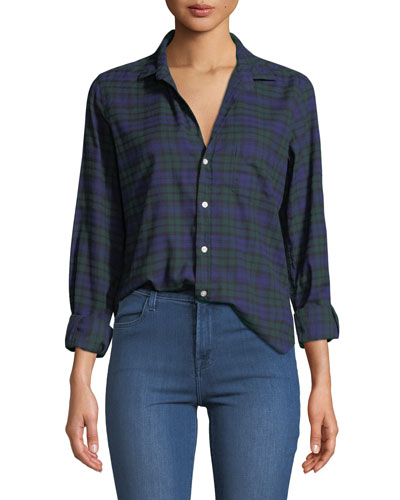 Long-Sleeve Plaid Button-Down Top