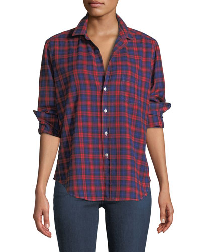Eileen Long-Sleeve Button-Down Plaid Shirt