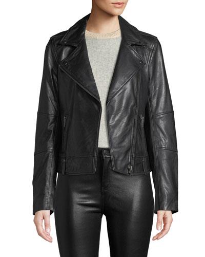 Leather Zip-Front Moto Jacket