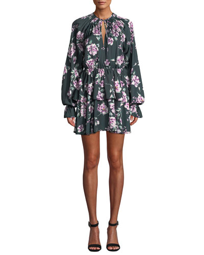 Kenya Tiered Floral Long-Sleeve Mini Dress
