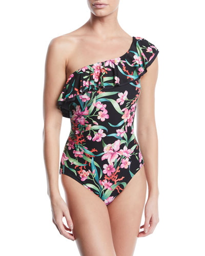One-Shoulder Floral-Print Ruffle One-Piece Swimsuit