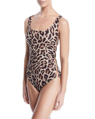 Leopard-Print Beaded Side-Split One-Piece Swimsuit