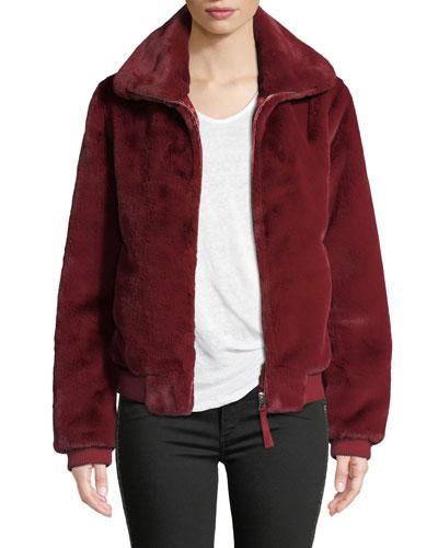 Heidi Faux-Fur Zip-Front Bomber Jacket