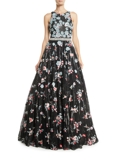 Sequin & Floral Embroidered Ball Gown