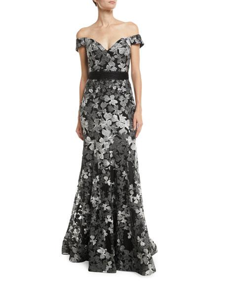 Jovani Off-Shoulder 3D Lace Gown w/ Removable Bow