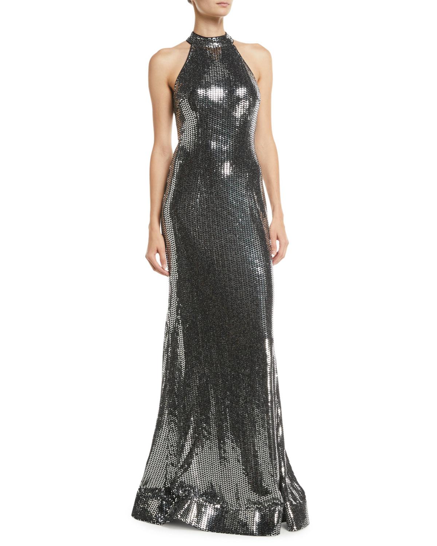 47c12990b0 Jovani Allover Sequin Halter Dress