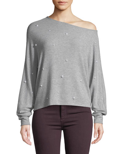 Jenny Pearl-Studded One-Shoulder Long-Sleeve Top