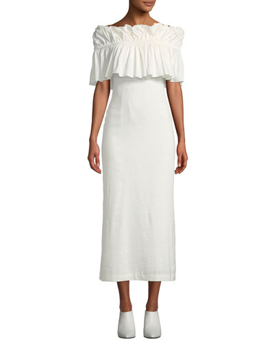 Mina Ruffle Off-Shoulder Linen Maxi Dress