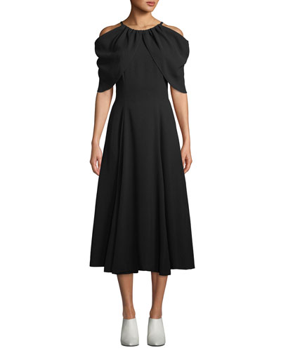 Sasha Draped Cold-Shoulder Midi Dress