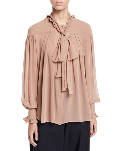 Lynn Tie-neck Button-Down Blouse