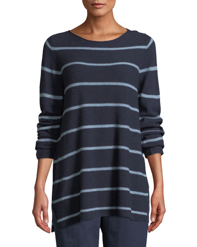 Striped Wool-Blend Pullover Sweater, Petite