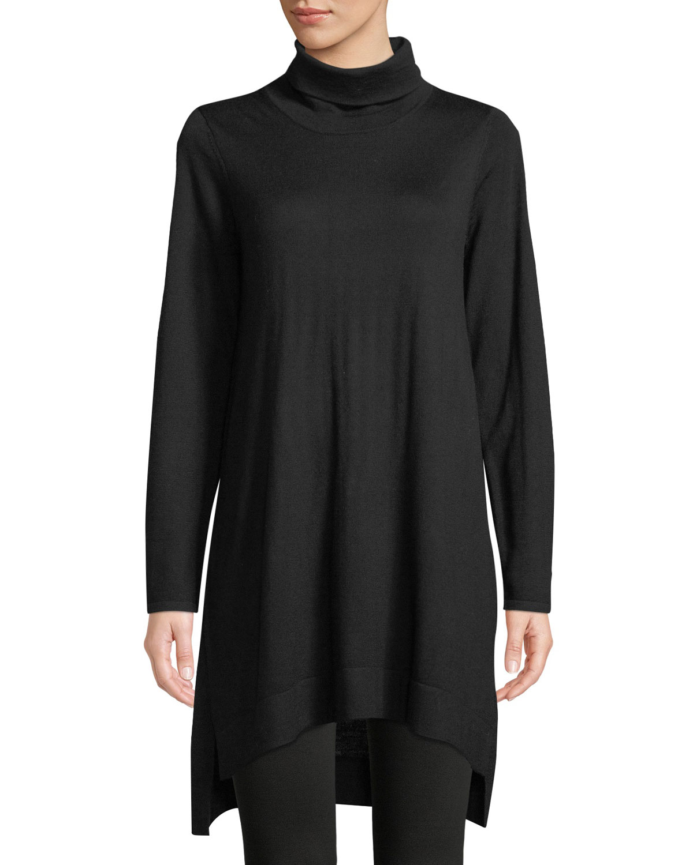 ed5b5b417b1b Eileen Fisher Merino Jersey Turtleneck Sweater Dress