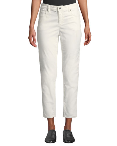 Mid-Rise Tapered-Leg Slim Ankle Jeans, Petite