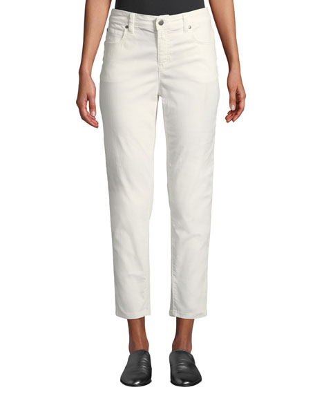 Eileen Fisher Mid-Rise Tapered-Leg Slim Ankle Jeans, Petite