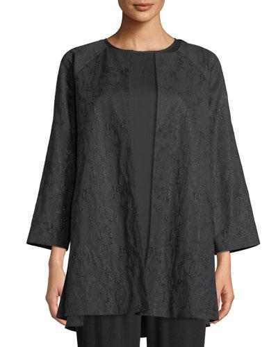 Shimmer Jacquard Long Open-Front Jacket