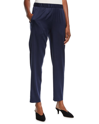 Silk Charmeuse Tapered Ankle Pants