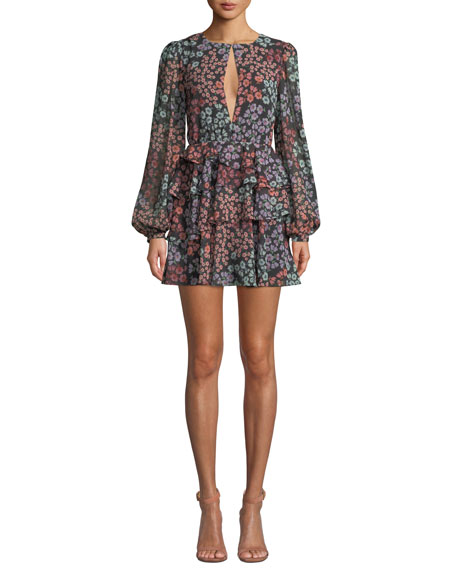 LOVERS & FRIENDS Carter Tiered Floral Long-Sleeve Short Dress in Multi