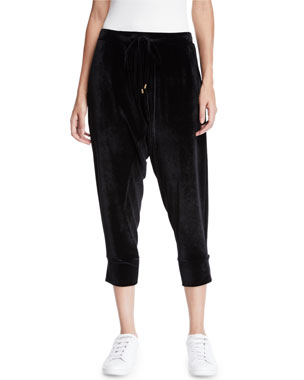 ef73c1dfa6bd9 Eileen Fisher Stretch-Velvet Drawstring Cropped Slouchy Pants